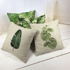 Own Photo Nordic Tropical Style Banana Leaf Cushion Cover Cartoon Bedroom Linen Seat Home Decorative Lumbar Pillowcase White Cushion Covers, Cushion Cover Designs, Dyi Pillows, Decorative Throw Pillows, Cosas American Girl, Pillow Covers, Throw Pillow Cases, Small Luxury Cars, Hand Painted Dress