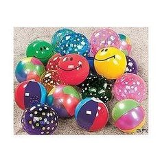 "Mini Beach Inflatable Balls - 25 Count - 5"" beach balls by Oriental Trading Co. $20.29. great party favors or stocking stuffers.. great set of 25 mini beach balls, 5"" size. you may receive striped, flower, 2 and 3 color panel, smile face, and sport styles. small size is great for pool parties and small hands!. assortment of patterns! note- all styles shown may not be included. Great assortment of 25 inflatable 7"" decorative beach balls. These are mini beachballs... ma..."