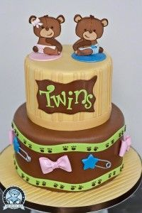 Baby Shower cakes for Twins are the most adorable ones. Here are the best Twins Baby Shower cakes ideas and cake designs, which you'll love to copy from. Torta Baby Shower, Twin Baby Shower Cake, Teddy Bear Baby Shower, Baby Cakes, Cupcake Cakes, Baby Shower Desserts, Baby Shower Themes, Shower Ideas, Twin Birthday Cakes