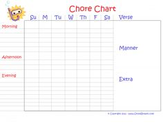 Free Customizable Printable Chore Chart for Kids Download