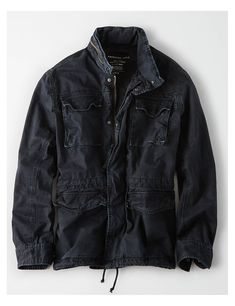 efd23cb7 AE Military Jacket, Black | American Eagle Outfitters Military Jackets,  Drawstring Waist, American