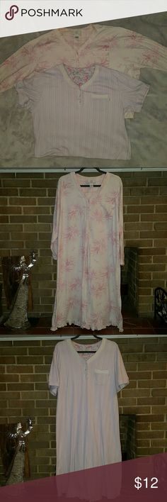 Karen Neuburger Night Gowns - Bundle of 2 Both are 1X. One long sleeved and one short sleeved pink and white gowns.  Thick cotton/polyester blend. There is some pilling due to multiple washes. Well loved with lots of life left. Karen Neuburger  Intimates & Sleepwear