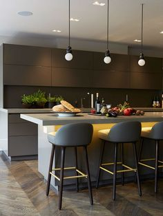 Award-winning Knightsbridge Penthouse London by Staffan Tollgard - Kitchen Lighting Best Pin Kitchen Lighting Design, Interior Design Kitchen, Interior Plants, Luxury Kitchens, Cool Kitchens, Small Kitchens, Dream Kitchens, New Kitchen, Kitchen Decor