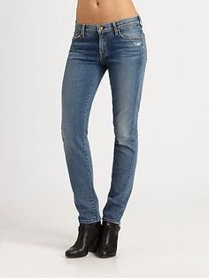 7 For All Mankind - The Slim Distressed Cigarette Jeans - Saks.com