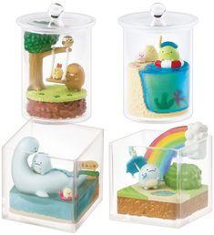 Sumikko Gurashi Terrarium Re-ment Miniatures - Super Cute Kawaii! Kawaii Diy, Kawaii Room, Kawaii Cute, Polymer Clay Kawaii, Polymer Clay Charms, Biscuit, Rement, Cute Clay, Miniature Crafts