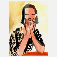"""Gayle Kabaker Romantic Prints Of Lovely Ladies  """"Girl At Red Table"""" 9x12 now featured on Fab."""