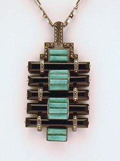 German sterling silver pendant set with black onyx, amazonite, and marcasites, 1927-28, by Theodor Fahrner.