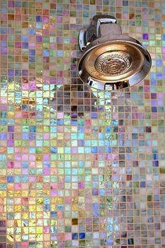 Bathroom inspiration + our choices - Kelly Caresse - Inspiration bathroom dream house: Design of the bathroom with bath, walk-in shower, mosaic tiles, g - Blog Deco, Deco Design, Tile Design, Design Case, Floor Design, Design Design, Modern Design, Bathroom Wall, Design Bathroom