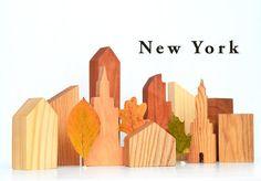 Building blocks set New York skyline Wooden by DimoklWoodenToys
