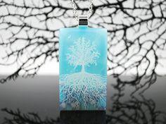 Glacier Blue  Tree Of Life  Fused Glass Pendant  by RLGlassArt