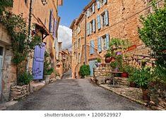 Imagens, fotos stock e imagens vetoriais de provence | Shutterstock Medieval Town, Medieval Castle, Manado, Blue Shutters, Orange City, Provence France, Stone Houses, France Travel, Pathways
