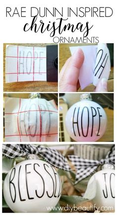 Rae Dunn Inspired Christmas Ornaments, DIY and Crafts, Hey Rae Dunn fans! These look-alike ornaments are easy to make! I& sharing a tip for making sure your vinyl letters are perfectly straight on a r. 3d Christmas, Diy Christmas Ornaments, Christmas Projects, All Things Christmas, Holiday Crafts, Christmas Decorations, Vinyl Ornaments, Buffalo Plaid Christmas Ornaments, Custom Ornaments