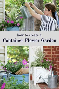 You won't believe how easy it is to create a container flower garden.  These step by step DIY instructions walk you through how to place the flowers and plants.  These ideas and design make it simple for anyone including for the beginner.  Petunias, white knight alyssum, watering can, workbench, moisture control soil and pot are just a few items you will need. Full sun flowers for large container garden at your front door, indoor or outdoors.