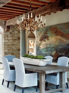 House of Turquoise: Dining House Of Turquoise, Dining Room Table Centerpieces, Centerpiece Ideas, Dining Tables, Coffee Tables, Wooden Centerpieces, Dining Decor, Floral Centerpieces, Table Decorations