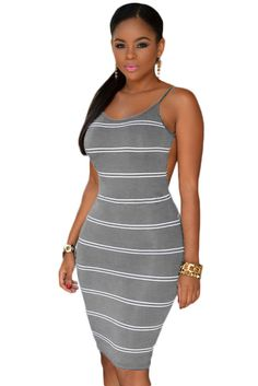 Stripes Open Back Bodycon Dress