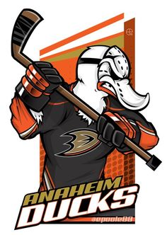 Need a Mighty Ducks of Anaheim cartoon? (Eric Poole) has ya covered! Hockey Logos, Nhl Logos, Sports Logos, Sports Teams, Ducks Hockey, Hockey Games, Hockey Puck, Karate, Creative Logo