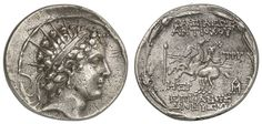 SYRIA, Seleukiden, Antiochos VI. Dionysus, 144-142 / 141 BC, tetradrachm, 144-143 BC, Antiocheia in Syria, Aversum: portrait head of the young king with diadem and aureola to the right, cult binding loop, reverse: the Dioscuri with fluttering cloaks and lances riding to the left, over their heads each a star, right afield TPY (monogram of the garrison commander Tryphonos Diodotos), more monograms, the whole in a wreath of lotus flowers and ears of corn, compare Newell, SMA 228.14. 65 g…