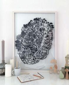 NEW! Paper Cut map of Copenhagen.  Available now at famillesummerbelle.com