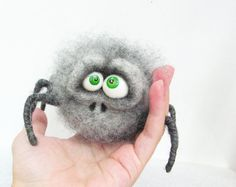 Needle Felted Toy. Gray Spider. Gift. Home decor. by VladaHom, $80.00