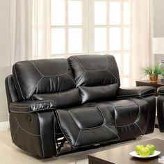 Furniture of America Frasien Modern Bonded Leather Reclining Loveseat (Black)