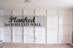 Check out this tutorial for creating your own planked feature wall with shelves out of 2x4s!