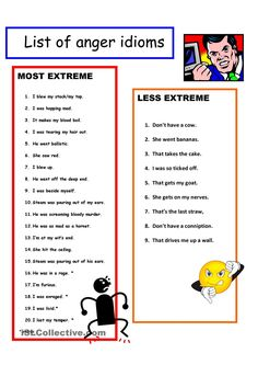 5 page Anger Idioms + Vocabulary + KEY