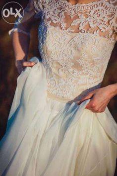 Suknia ślubna muślin, koronka, rękaw 3/4 Tarnów - image 1