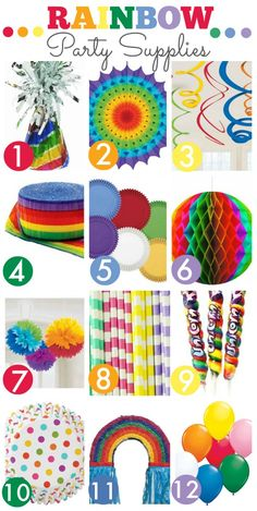 Great Rainbow Birthday Party Supplies from the Catch My Party Store! | CatchMyParty.com
