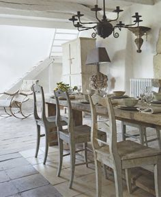 Rustic french country table and chairs