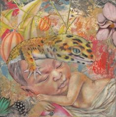 my new little painting 'The Court of the Lizard King' - colored pencil, rice paper, encaustic on panel - Lori Field