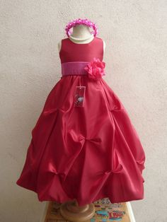 Flower Girl Dresses RED with Fuchsia Pick Up by NollaCollection
