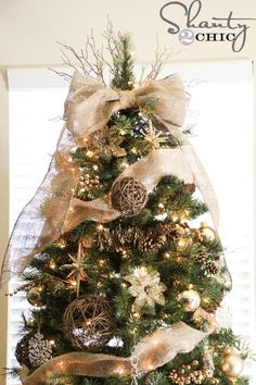 Burlap Bow Tree Topper Tutorial And Tree Inspiration Diy Christmas Tree Topper Noel Christmas