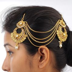 Traditional Gold Plate AD CZ Pearl Jewelry Ethnic Indian Bollywood Khopa Jhapta  #DesaiJewellers #HairChain