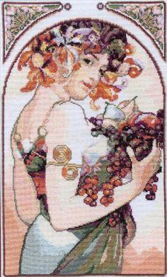 """Borduurpatroon Kruissteek Mucha *Embroidery Cross Stitch Pattern ~""""Fruit""""- klik op knop """"Bezoeken"""" voor de 10 patronen~"""