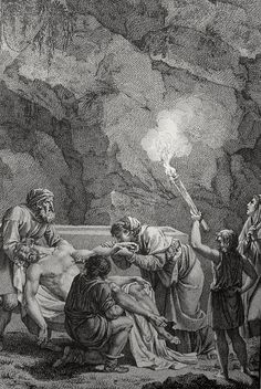 Phillip Medhurst presents John's Gospel: Bowyer Bible print 5614 Jesus is laid in the sepulchre John 19:38-42 Monsiau on Flickr. A print from the Bowyer Bible, an extra-illustrated copy of Macklin's...