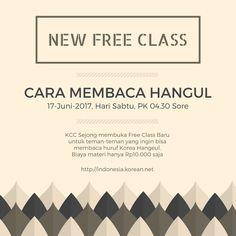 New Free Class - Cara Membaca Huruf Korea Hangul KCC Sejong Jogja