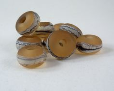 Silvered Ivory on Pale Amber - Lampwork Accent Beads - Etched