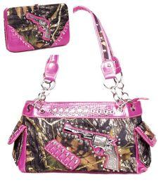 Western One Pistol Gun Pink Camouflage Rhinestone Purse W Matching Wallet - Handbags, Bling & More!