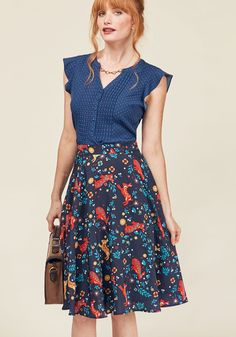 Testament to Your Merriment A-Line Skirt. By flaunting this navy blue skirt with the smile it brings to your face, your joyous attitude is put on display! #blue #modcloth
