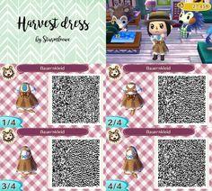 harvest dress design for animal crossing bauernkleid qr code acnl