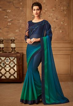 Buy Navy Blue Color Chiffon Fabric Designer Saree With Embroidery Work And Party Wear Blouse Online Designer Sarees Collection, Designer Sarees Online, Saree Collection, Designer Dresses, Chiffon Saree, Chiffon Fabric, Silk Chiffon, Silk Fabric, Silk Sarees