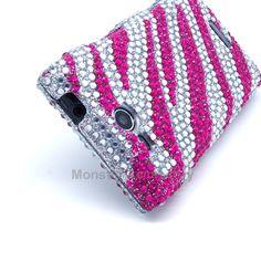 LG Lucid 4G VS840 Case - Pink Zebra Rhinestone Bling Hard Cover $10.95