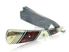 Hand made Damascus Steel Straight Razor, Camel Bone, Snakewood Handle on Etsy, $85.00