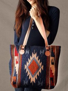 Womens Tote Purses, Hand-Woven Wool Tote Purse with Leather Shoulder Straps Sac Vanessa Bruno, Ethno Style, Bag Women, Ethnic Bag, Carpet Bag, Fashion Mode, Street Look, Minimal Chic, Shopper
