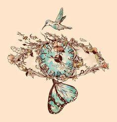 Illustrations of Norman Duenas time-eye-butterfly-bird-plants-illustration-design-art Future Tattoos, Love Tattoos, Beautiful Tattoos, Body Art Tattoos, Tattoo Drawings, New Tattoos, Art Drawings, Theme Tattoo, Book Art