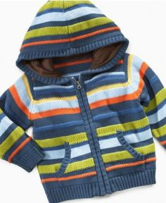 First Impressions Playwear Baby Hoodie, Baby Boys Striped Hooded Sweater - Kids Baby Boy months) - Macy'sBaby Boy Clothes at Macy's come in a variety of styles and sizes. Shop Baby Boy Clothing and find the latest styles for your little one today. Baby Outfits, Kids Outfits, Knit Baby Sweaters, Boys Sweaters, Baby Boy Knitting, Knitting For Kids, Boys Hoodies, Hooded Sweatshirts, Baby Boys