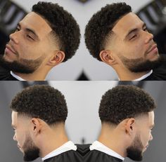 Image may contain: 2 people Taper Fade Curly Hair, Taper Fade Haircut, Tapered Haircut, Curly Hair Cuts, Curly Hair Styles, Boys Haircuts Curly Hair, Black Boys Haircuts, Black Men Hairstyles, Haircuts For Men