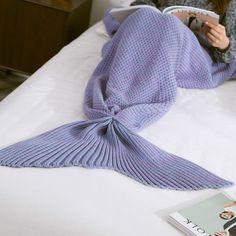 High Quality Yarn Knitted Mermaid Tail Blanket - LIGHT PURPLE L