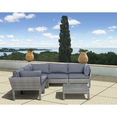 South Beach 6-Piece Wicker Patio Sectional Seating Furniture Set $1,274