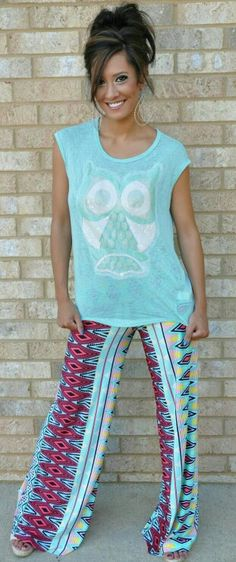 I like these separately. Maybe a pair of white jeans with the top, and a black or white tip with the printed pants.